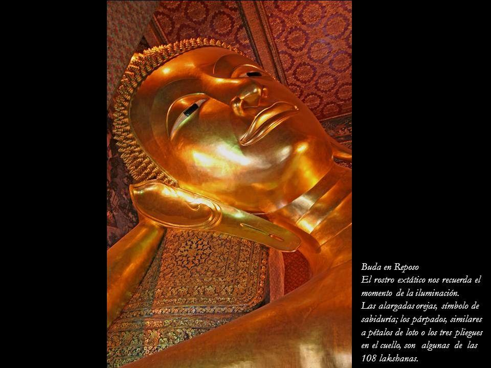 Buda en Reposo El rostro extático nos recuerda el. momento de la iluminación. Las alargadas orejas, símbolo de.