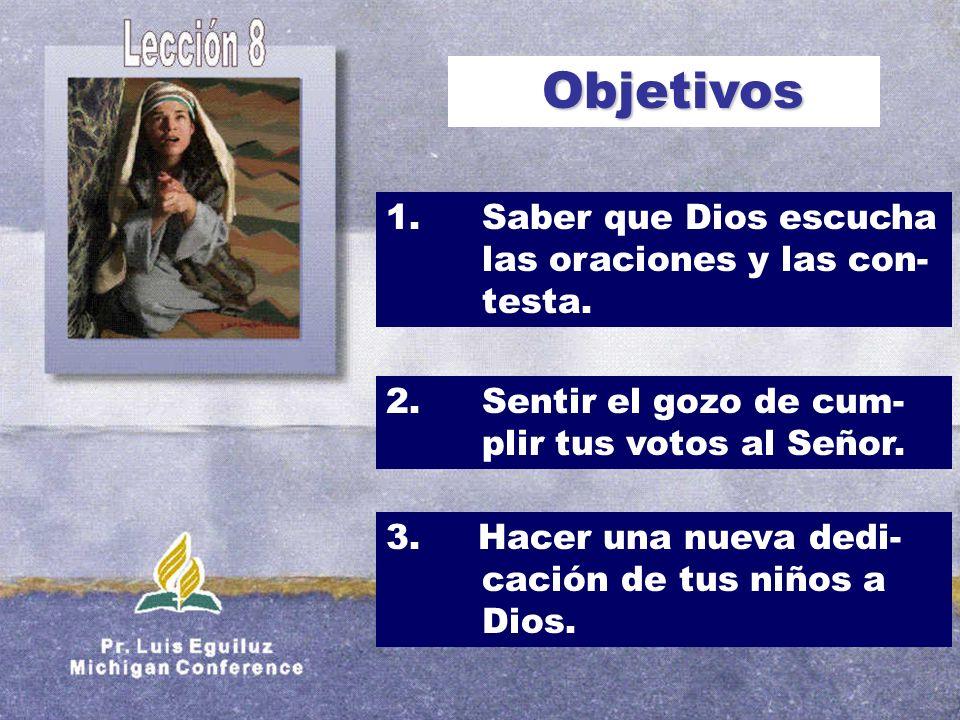 Objetivos 1. Saber que Dios escucha las oraciones y las con- testa.
