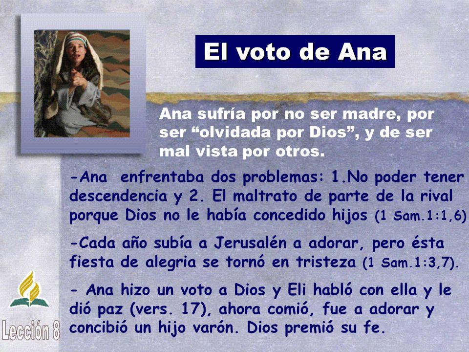 El voto de Ana Ana sufría por no ser madre, por ser olvidada por Dios , y de ser mal vista por otros.