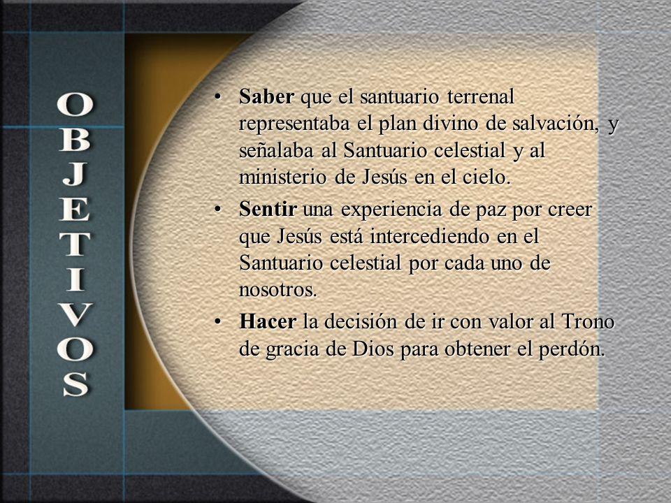 Saber que el santuario terrenal representaba el plan divino de salvación, y señalaba al Santuario celestial y al ministerio de Jesús en el cielo.
