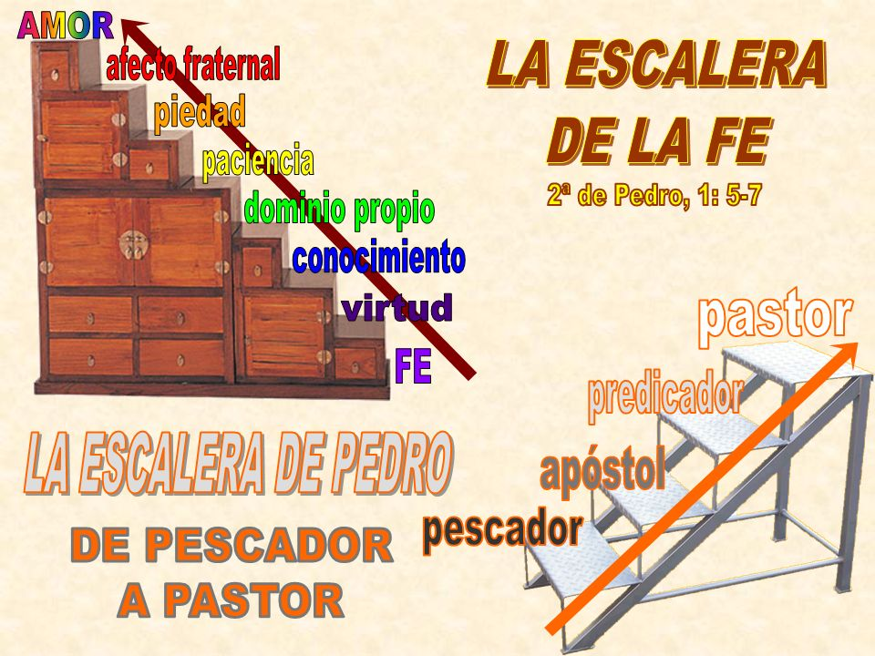 AMOR LA ESCALERA. DE LA FE. afecto fraternal. piedad. paciencia. 2ª de Pedro, 1: 5-7. dominio propio.