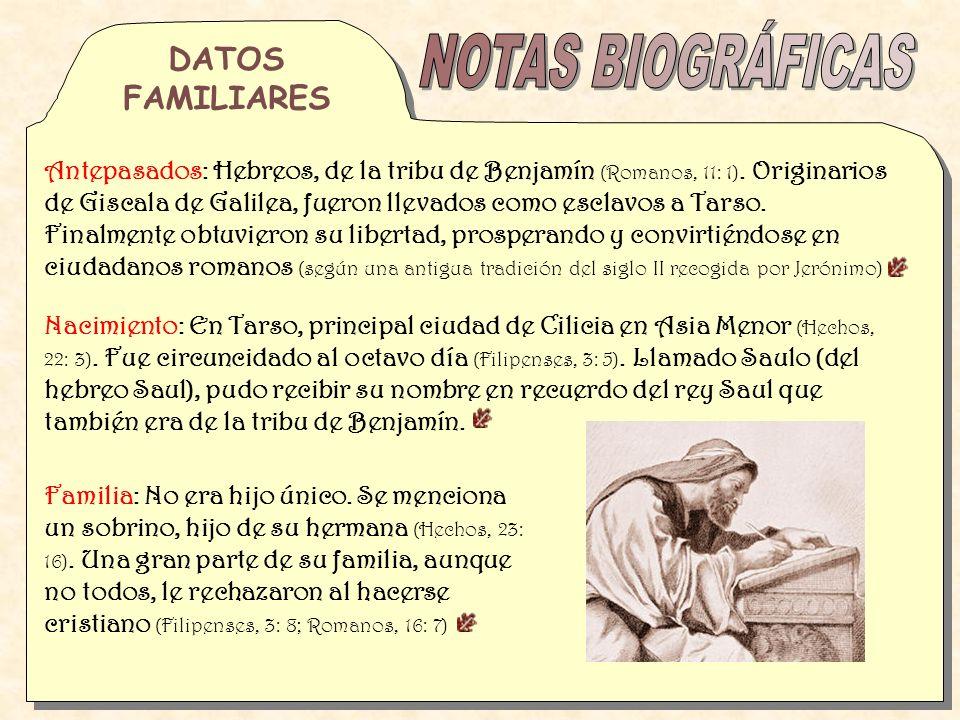 NOTAS BIOGRÁFICAS DATOS FAMILIARES