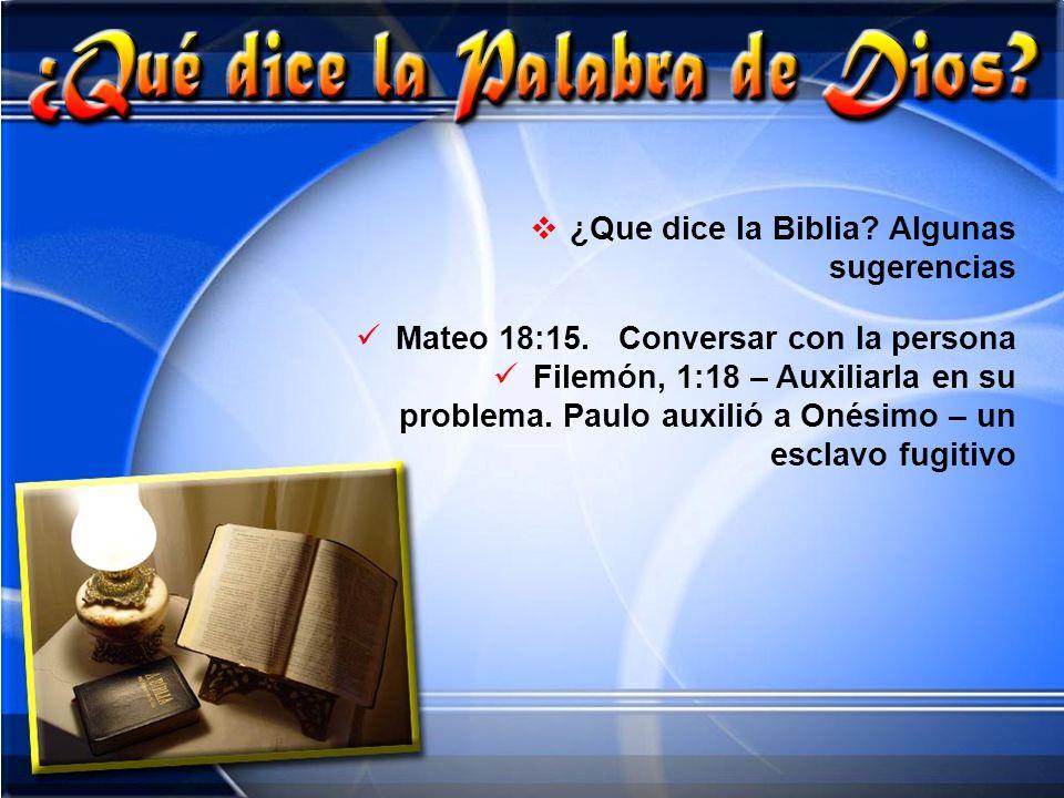 ¿Que dice la Biblia Algunas sugerencias