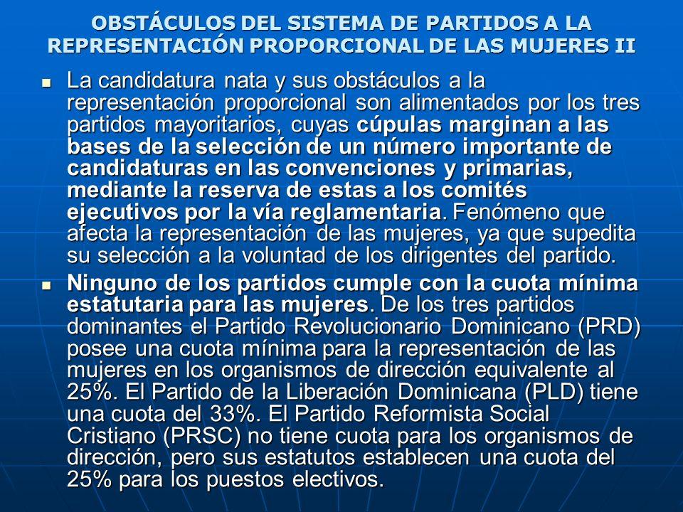 OBSTÁCULOS DEL SISTEMA DE PARTIDOS A LA REPRESENTACIÓN PROPORCIONAL DE LAS MUJERES II