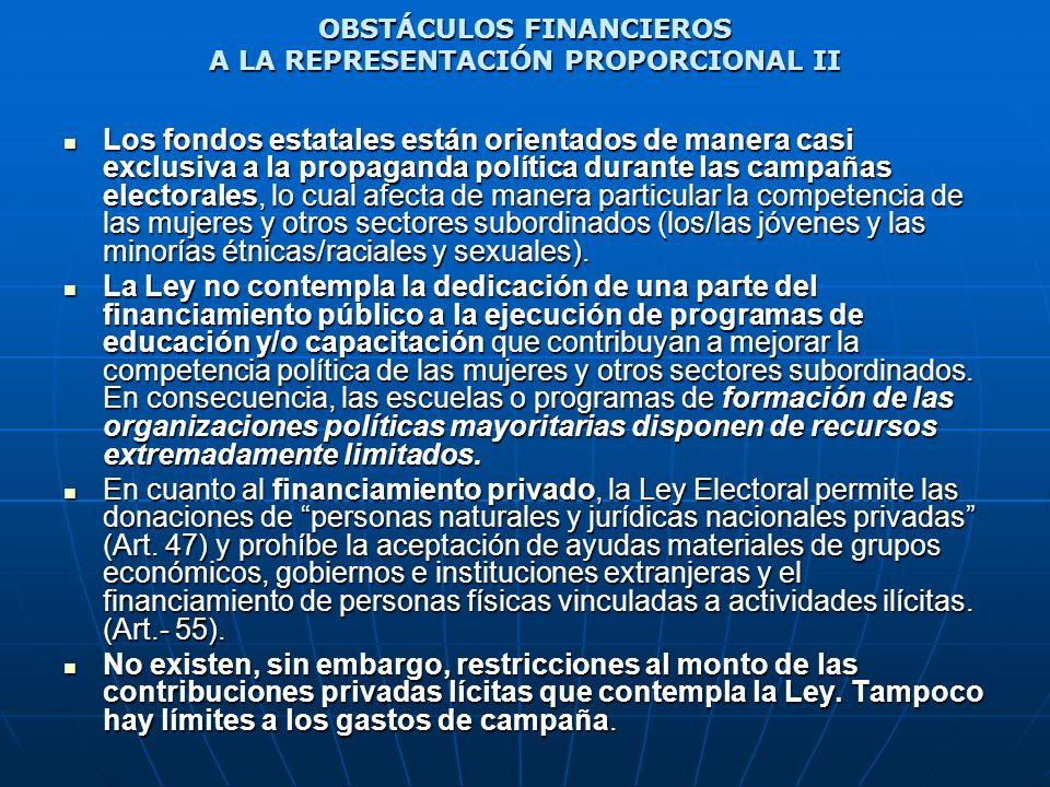 OBSTÁCULOS FINANCIEROS A LA REPRESENTACIÓN PROPORCIONAL II