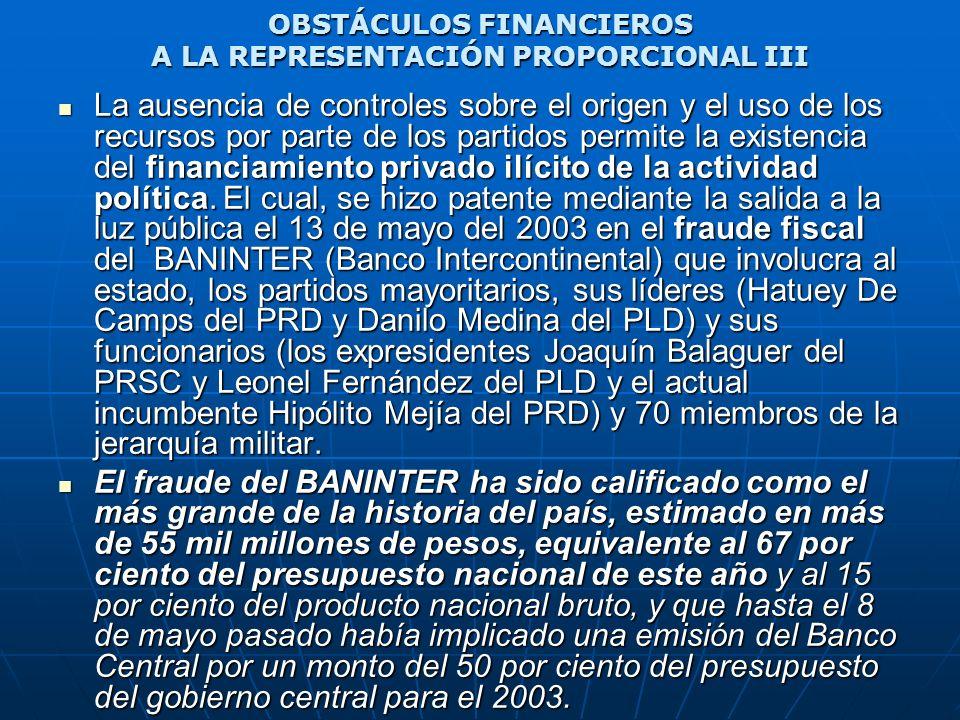OBSTÁCULOS FINANCIEROS A LA REPRESENTACIÓN PROPORCIONAL III