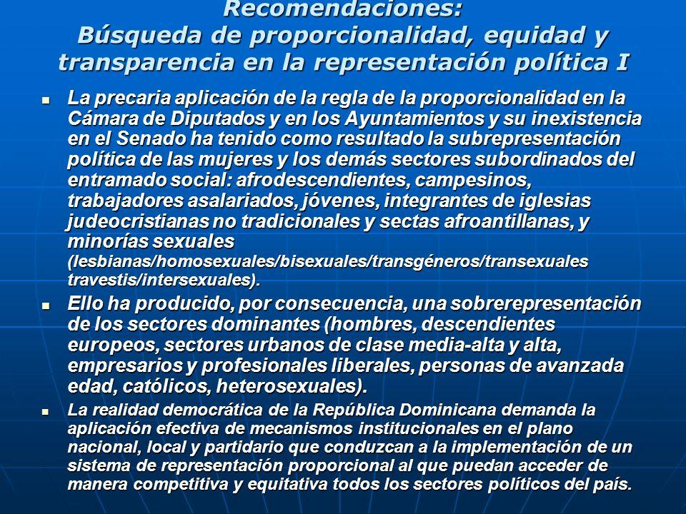 Recomendaciones: Búsqueda de proporcionalidad, equidad y transparencia en la representación política I