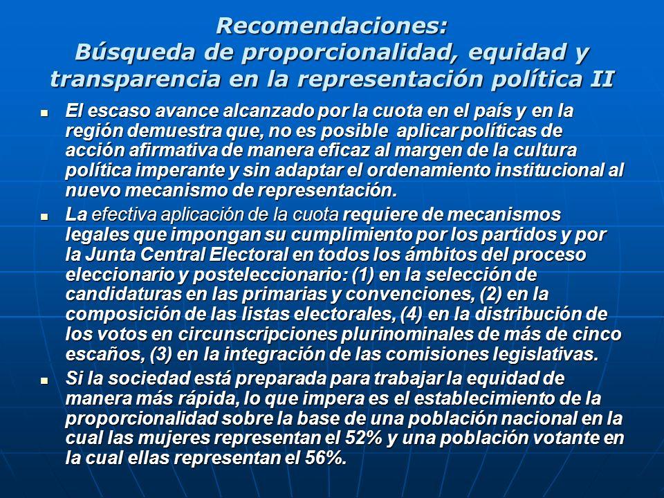 Recomendaciones: Búsqueda de proporcionalidad, equidad y transparencia en la representación política II