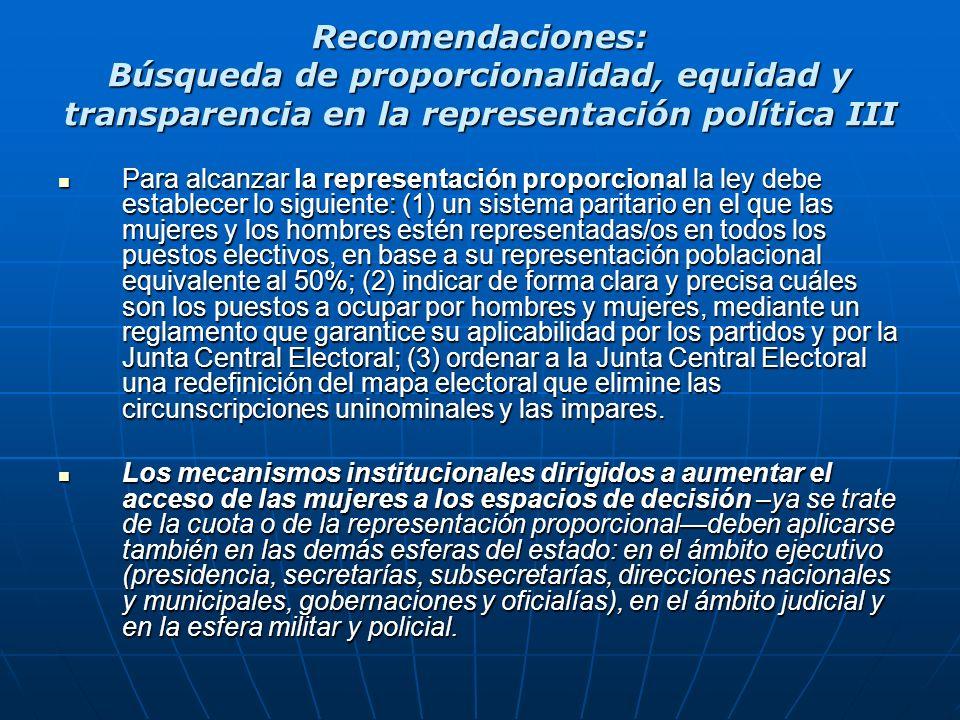 Recomendaciones: Búsqueda de proporcionalidad, equidad y transparencia en la representación política III