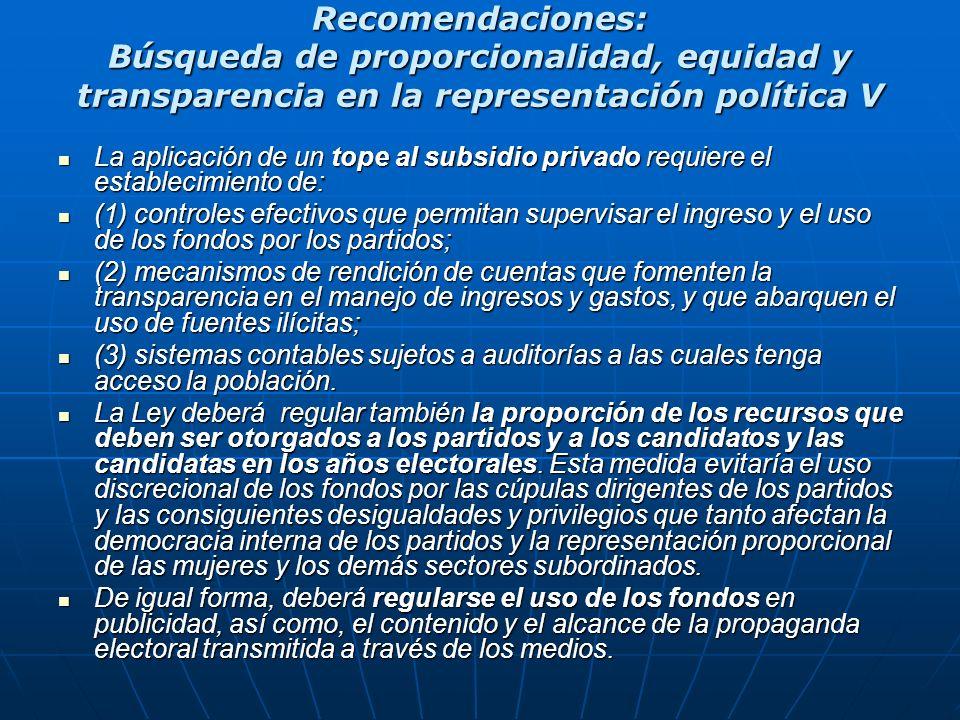 Recomendaciones: Búsqueda de proporcionalidad, equidad y transparencia en la representación política V