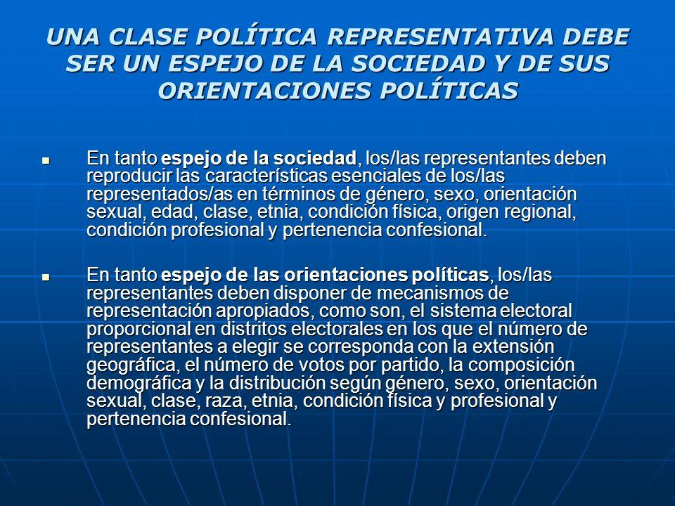 UNA CLASE POLÍTICA REPRESENTATIVA DEBE SER UN ESPEJO DE LA SOCIEDAD Y DE SUS ORIENTACIONES POLÍTICAS