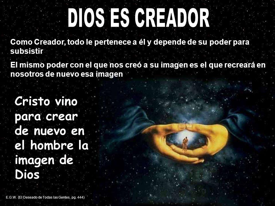 DIOS ES CREADOR Como Creador, todo le pertenece a él y depende de su poder para subsistir.