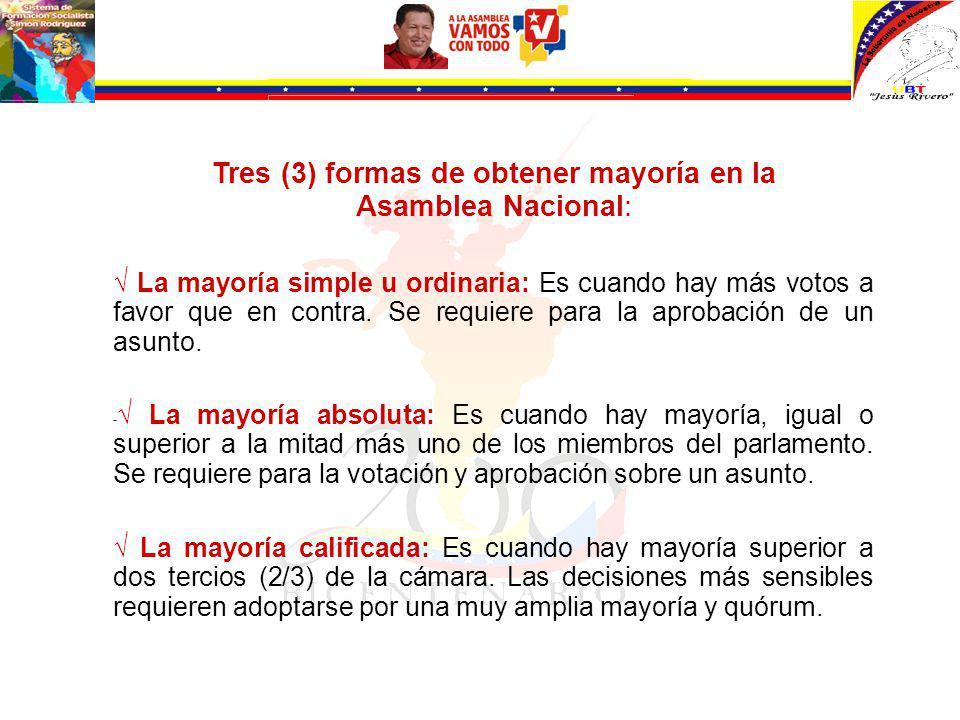 Tres (3) formas de obtener mayoría en la