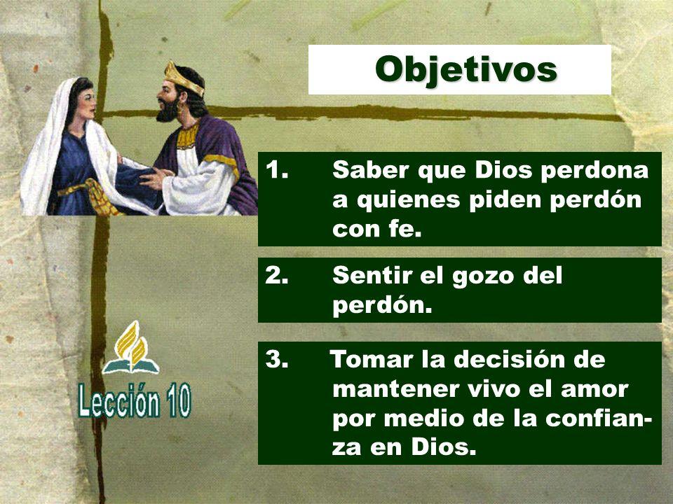 Objetivos 1. Saber que Dios perdona a quienes piden perdón con fe.