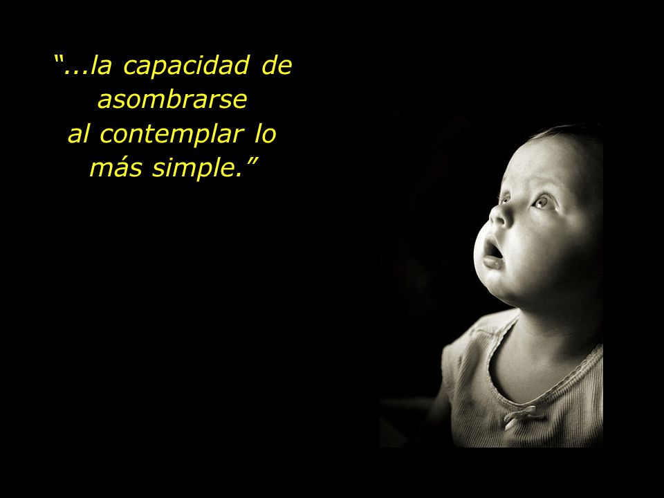 ...la capacidad de asombrarse al contemplar lo más simple.