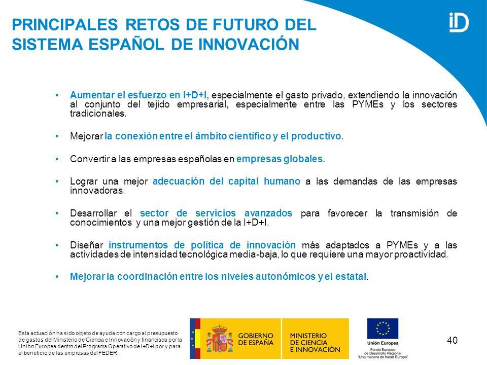 PRINCIPALES RETOS DE FUTURO DEL SISTEMA ESPAÑOL DE INNOVACIÓN