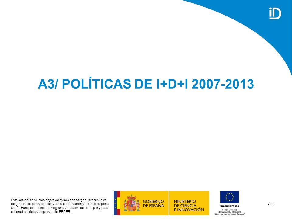 A3/ POLÍTICAS DE I+D+I 2007-2013