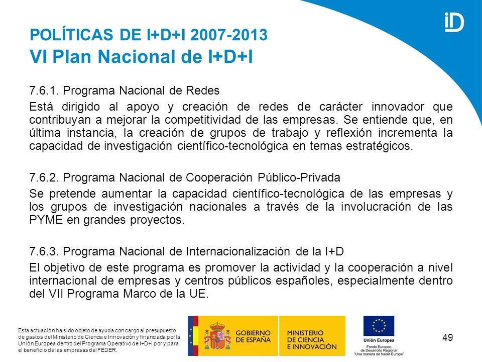 POLÍTICAS DE I+D+I 2007-2013 VI Plan Nacional de I+D+I
