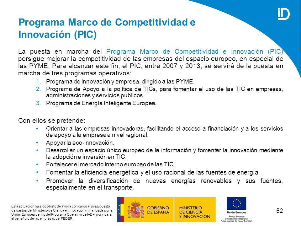 Programa Marco de Competitividad e Innovación (PIC)