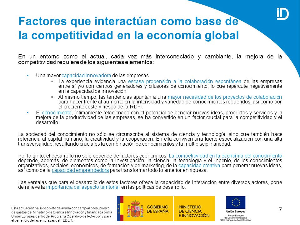 Factores que interactúan como base de la competitividad en la economía global