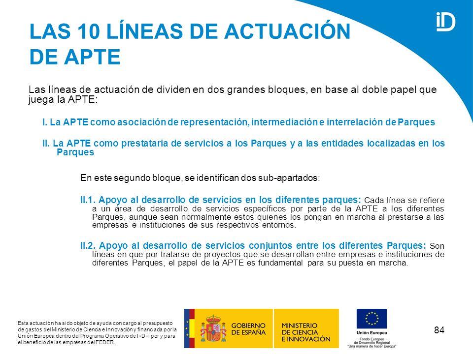 LAS 10 LÍNEAS DE ACTUACIÓN DE APTE