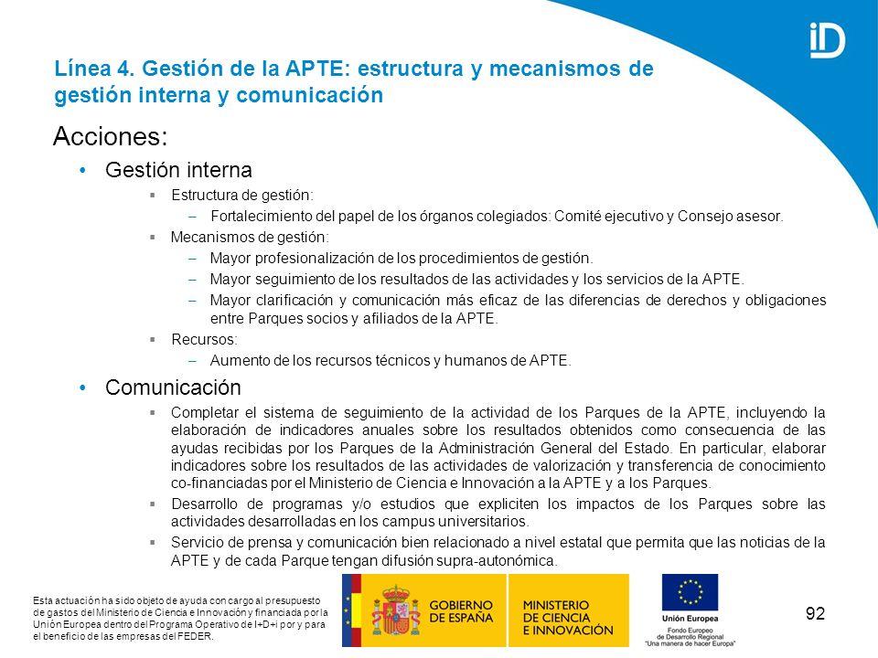 Línea 4. Gestión de la APTE: estructura y mecanismos de gestión interna y comunicación