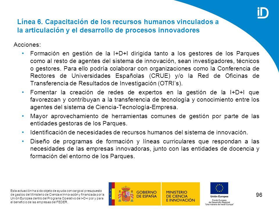 Línea 6. Capacitación de los recursos humanos vinculados a la articulación y el desarrollo de procesos innovadores