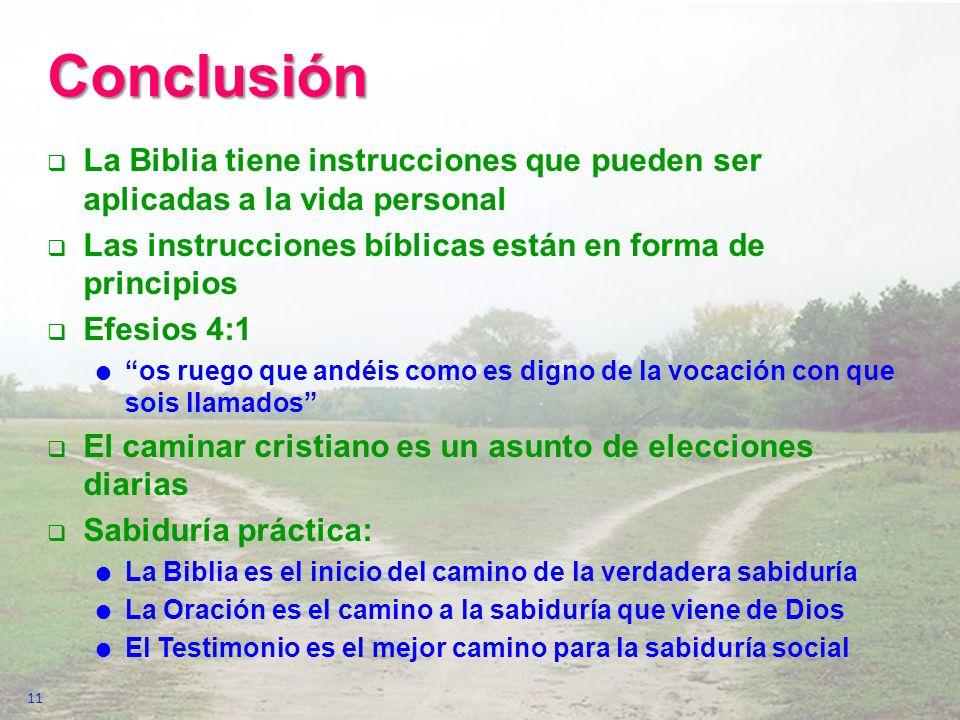 Conclusión La Biblia tiene instrucciones que pueden ser aplicadas a la vida personal. Las instrucciones bíblicas están en forma de principios.