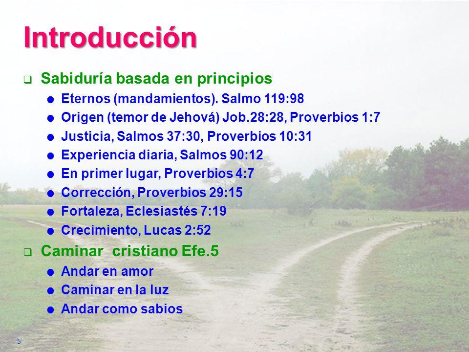 Introducción Sabiduría basada en principios Caminar cristiano Efe.5