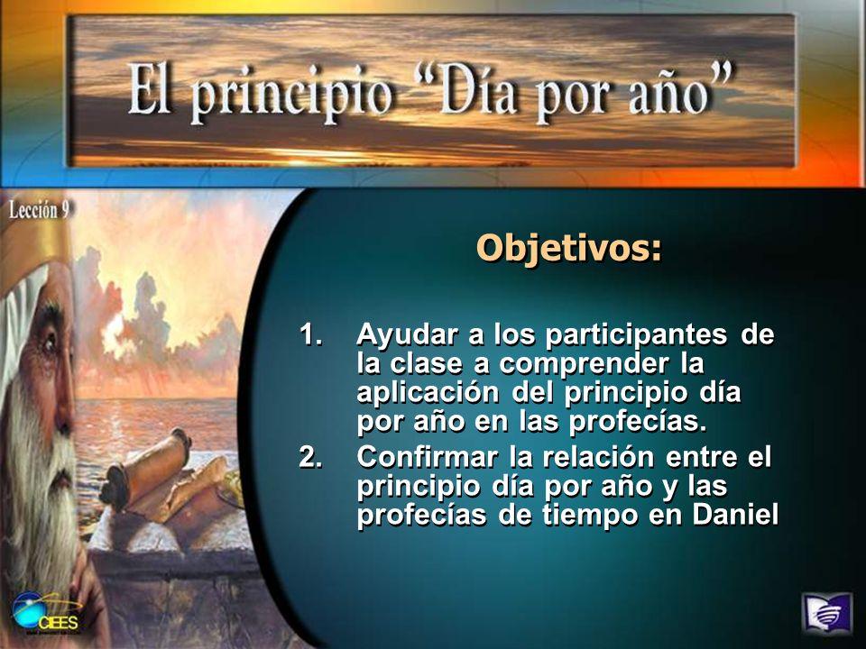 Objetivos: Ayudar a los participantes de la clase a comprender la aplicación del principio día por año en las profecías.