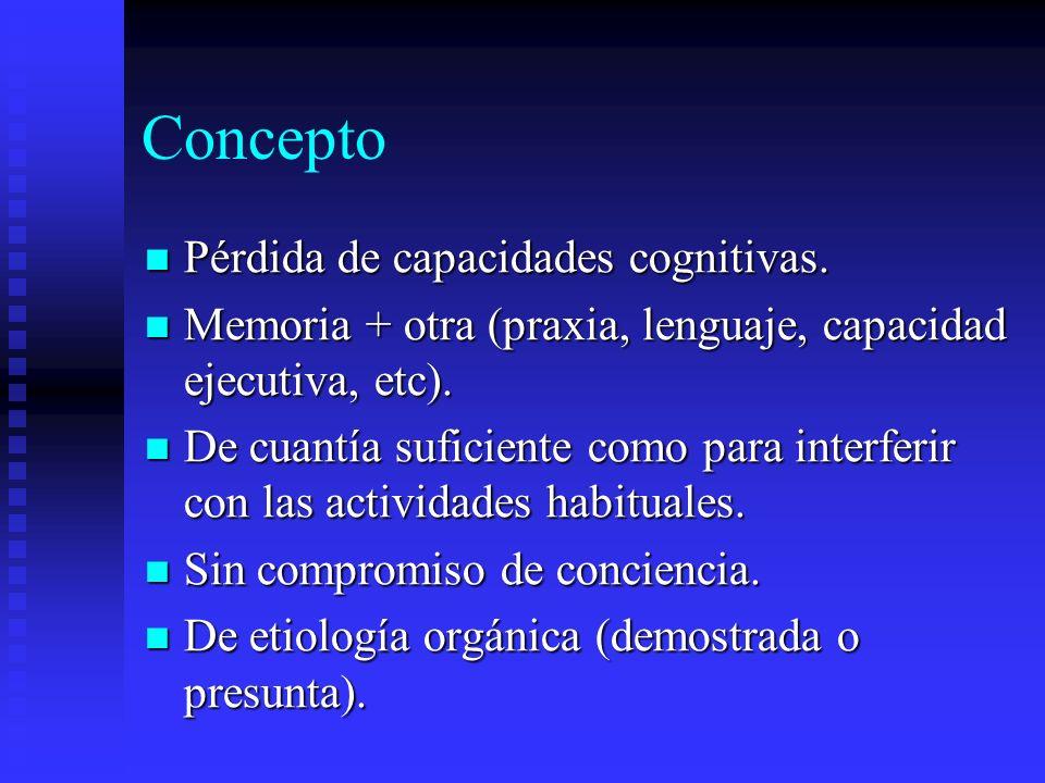 Concepto Pérdida de capacidades cognitivas.