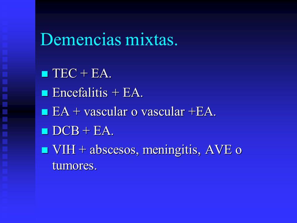 Demencias mixtas. TEC + EA. Encefalitis + EA.