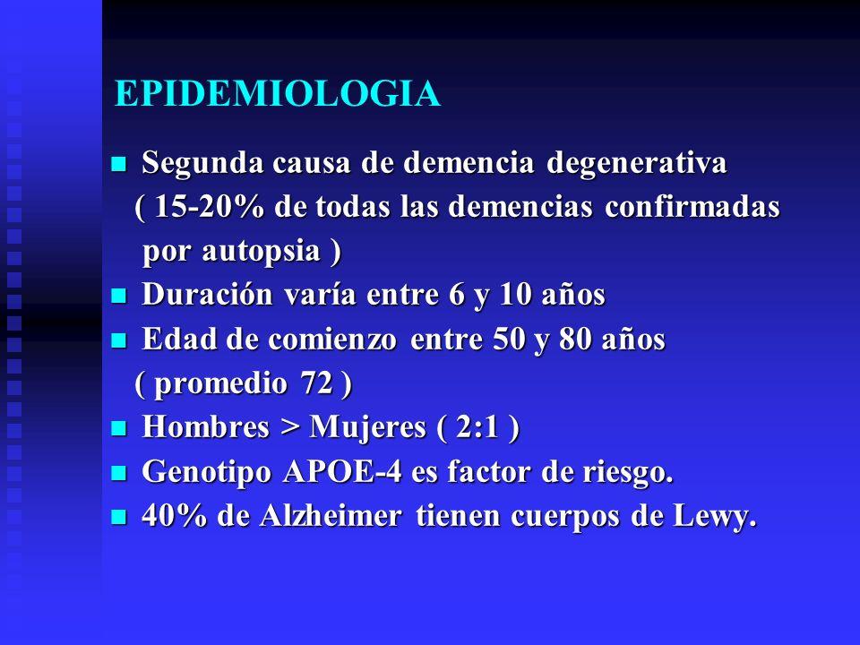 EPIDEMIOLOGIA Segunda causa de demencia degenerativa