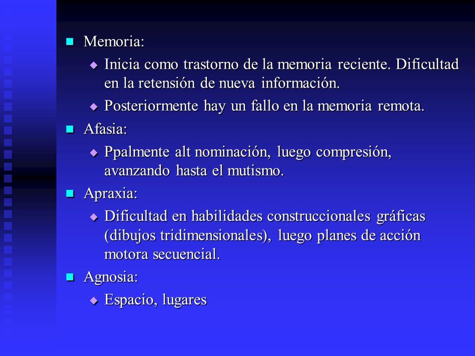 Memoria: Inicia como trastorno de la memoria reciente. Dificultad en la retensión de nueva información.