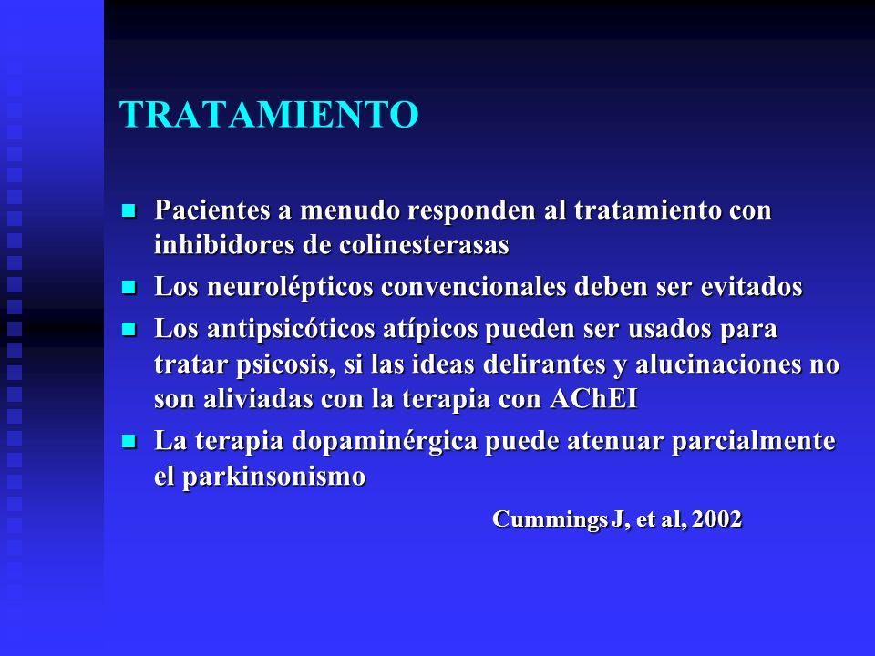 TRATAMIENTO Pacientes a menudo responden al tratamiento con inhibidores de colinesterasas. Los neurolépticos convencionales deben ser evitados.