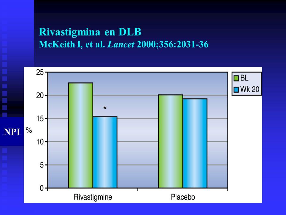 Rivastigmina en DLB McKeith I, et al. Lancet 2000;356:2031-36