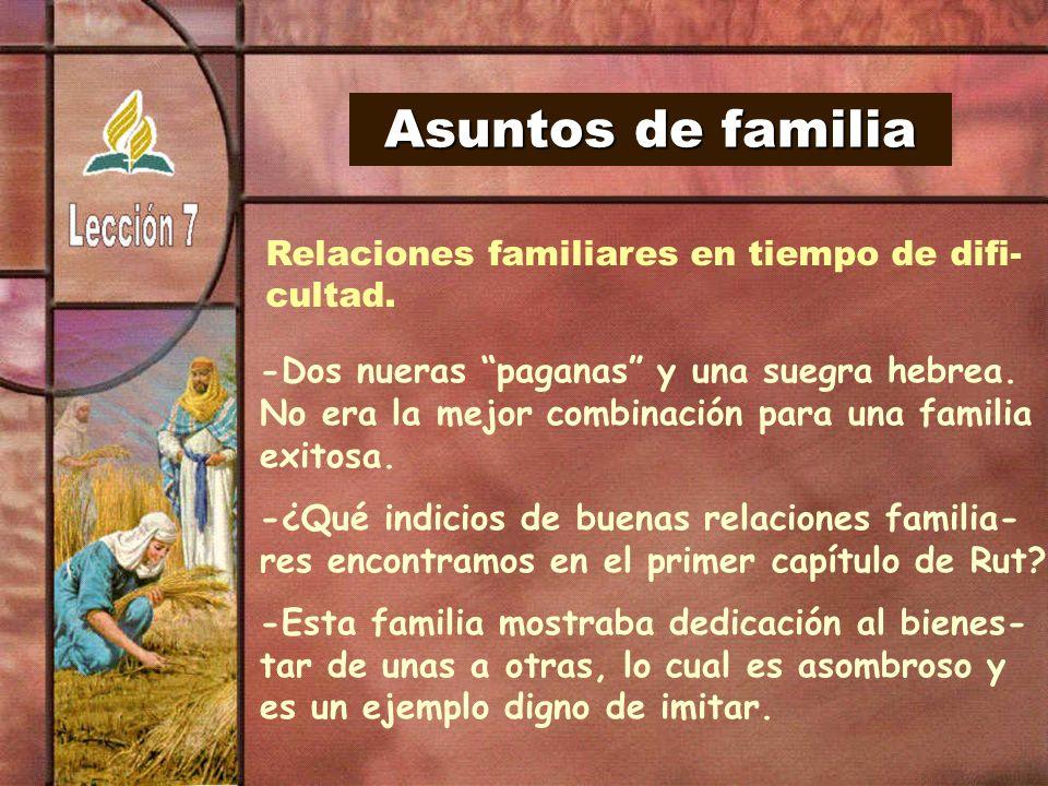 Asuntos de familia Relaciones familiares en tiempo de difi- cultad.