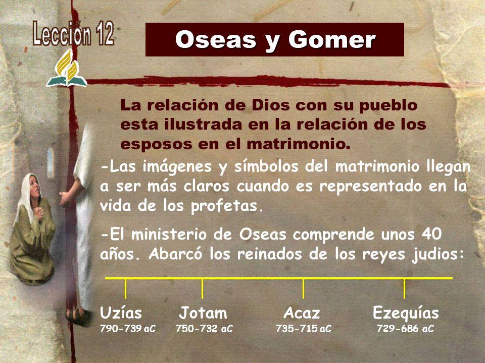 Oseas y Gomer La relación de Dios con su pueblo esta ilustrada en la relación de los esposos en el matrimonio.