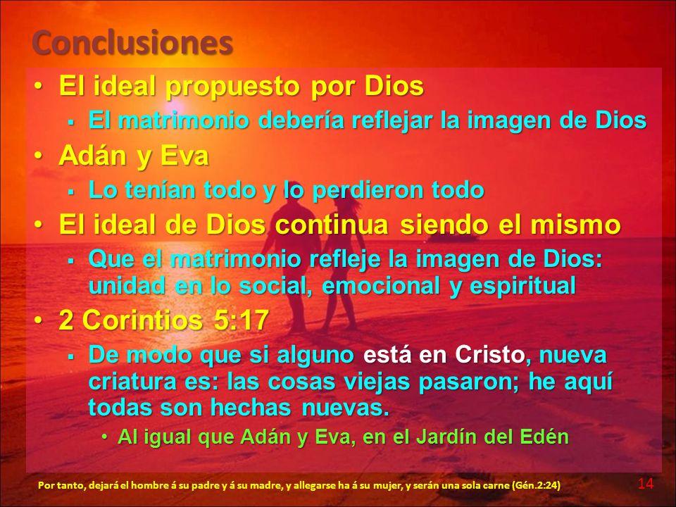Conclusiones El ideal propuesto por Dios Adán y Eva