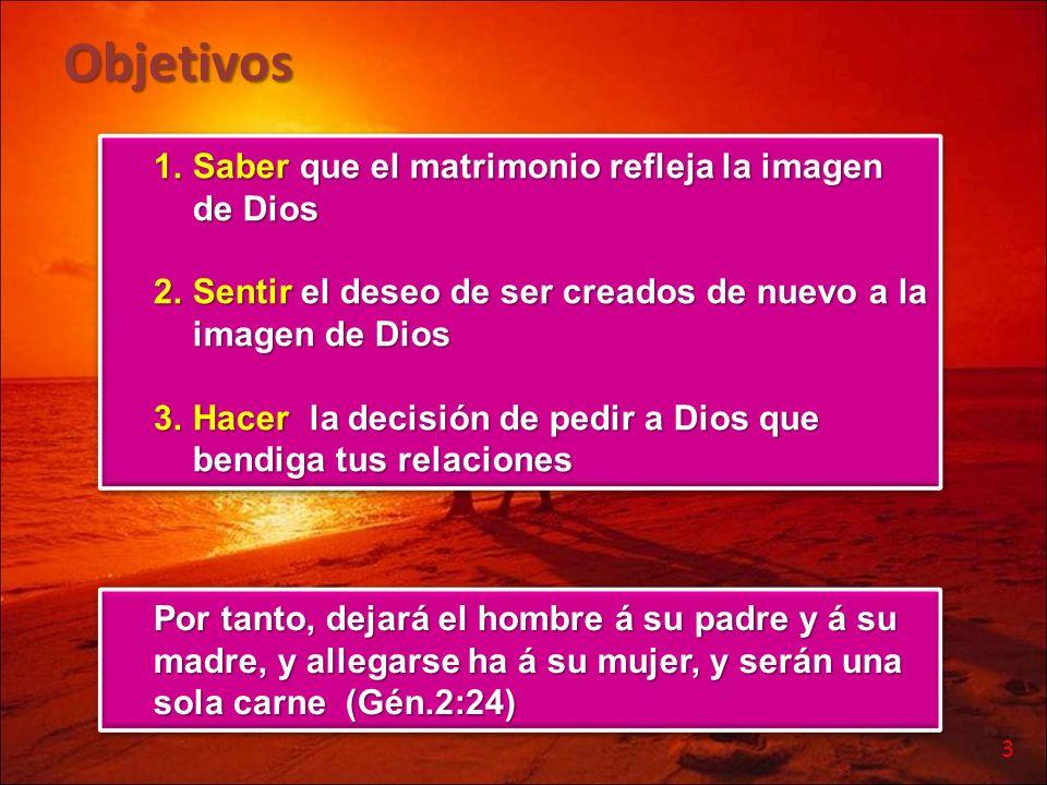 Objetivos Saber que el matrimonio refleja la imagen de Dios