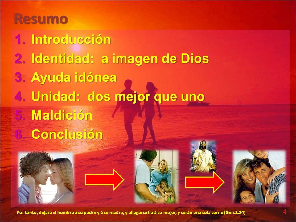 Resumo Introducción Identidad: a imagen de Dios Ayuda idónea
