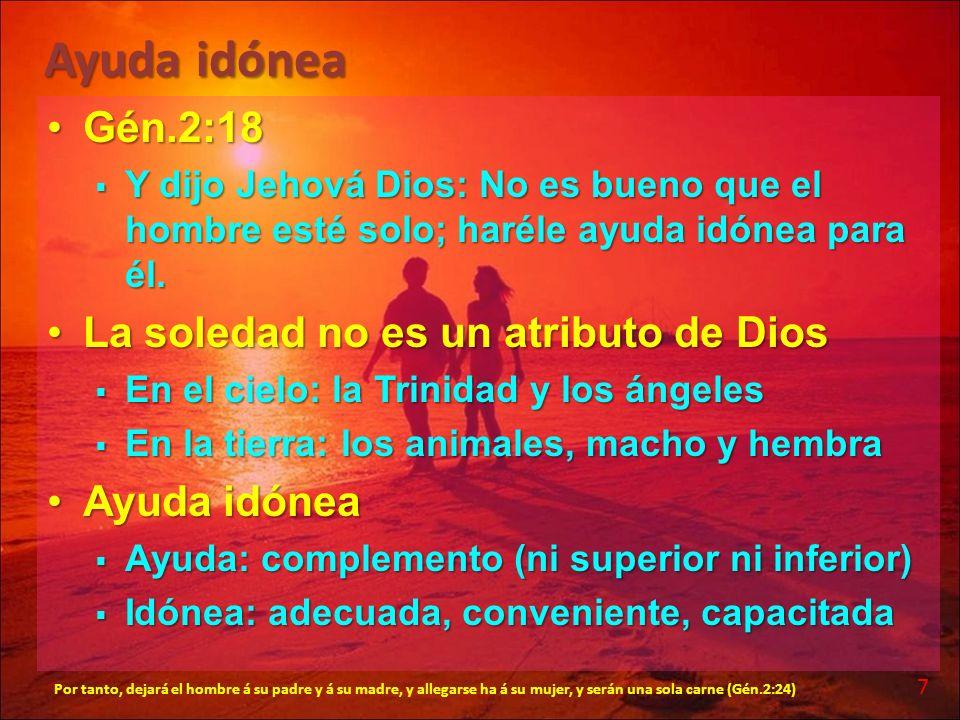Ayuda idónea Gén.2:18 La soledad no es un atributo de Dios