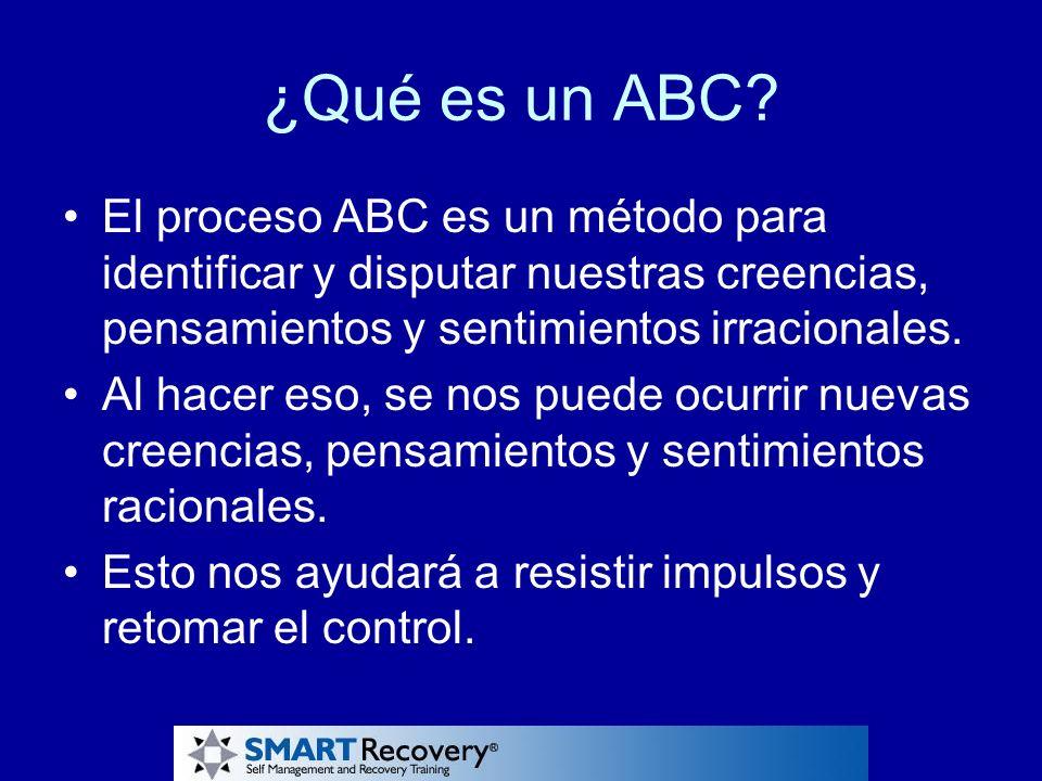¿Qué es un ABC El proceso ABC es un método para identificar y disputar nuestras creencias, pensamientos y sentimientos irracionales.