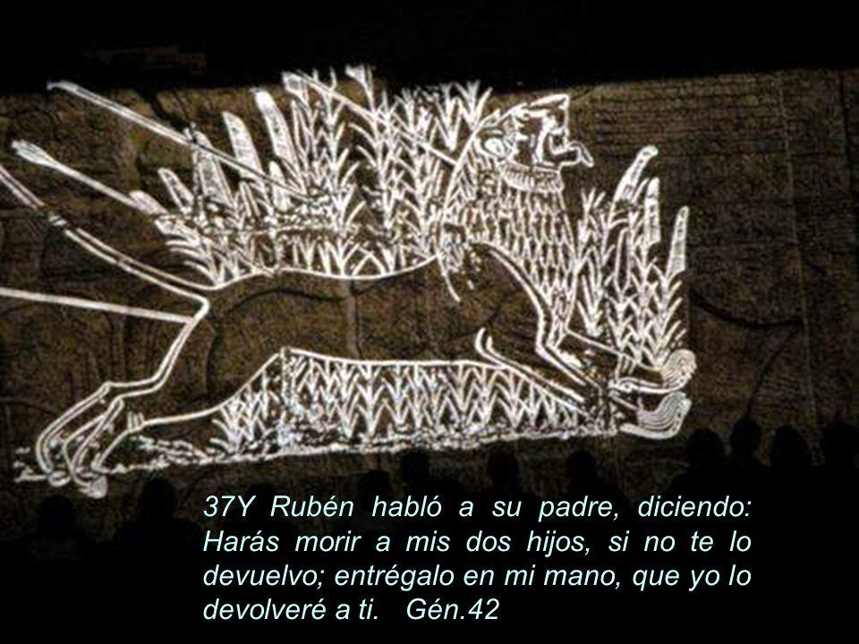 37Y Rubén habló a su padre, diciendo: Harás morir a mis dos hijos, si no te lo devuelvo; entrégalo en mi mano, que yo lo devolveré a ti.