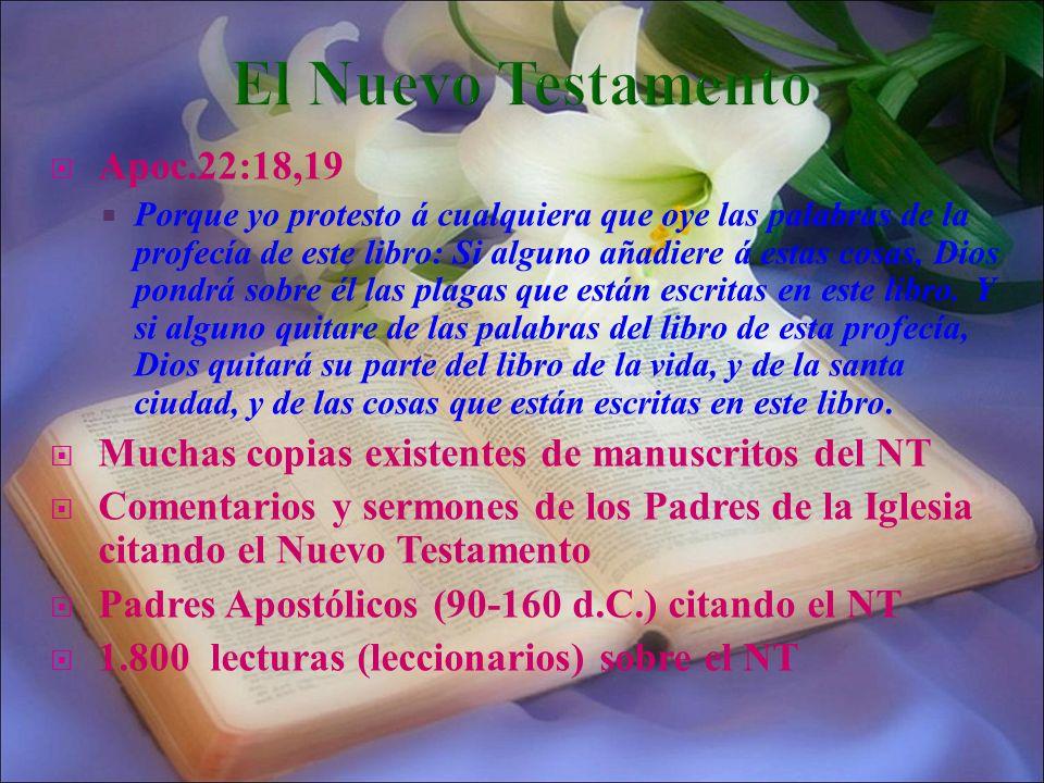 El Nuevo Testamento Apoc.22:18,19