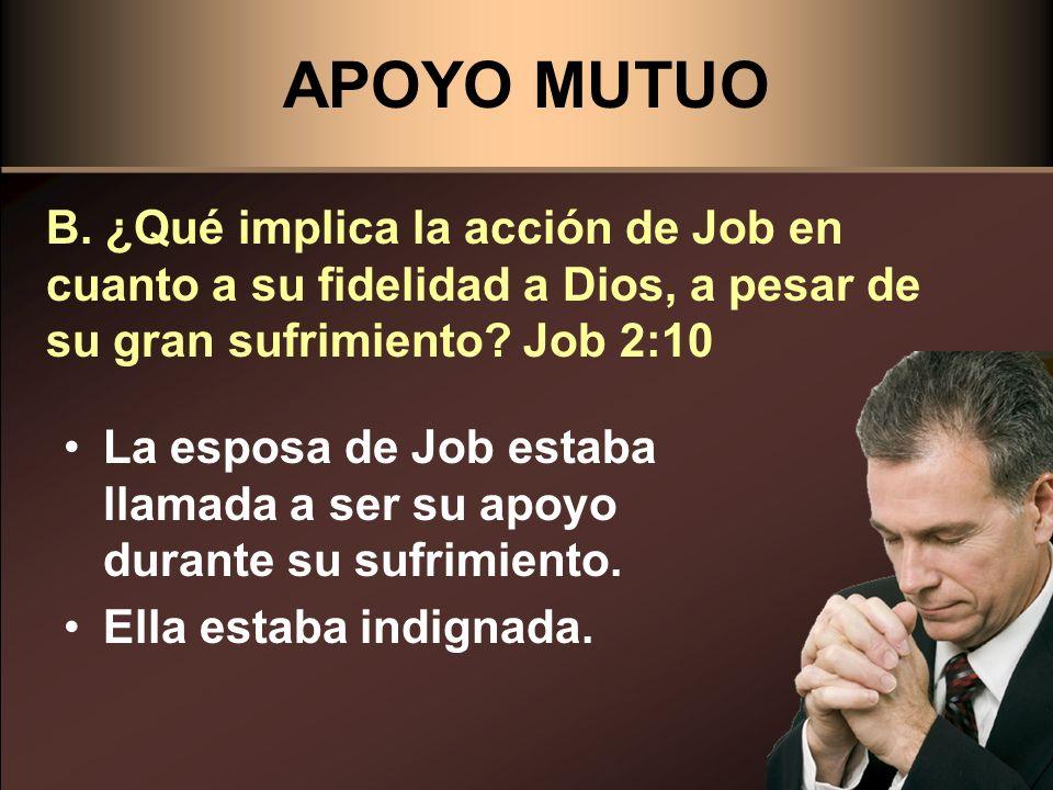 APOYO MUTUO B. ¿Qué implica la acción de Job en cuanto a su fidelidad a Dios, a pesar de su gran sufrimiento Job 2:10.