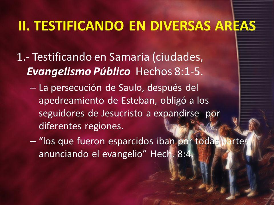 II. TESTIFICANDO EN DIVERSAS AREAS