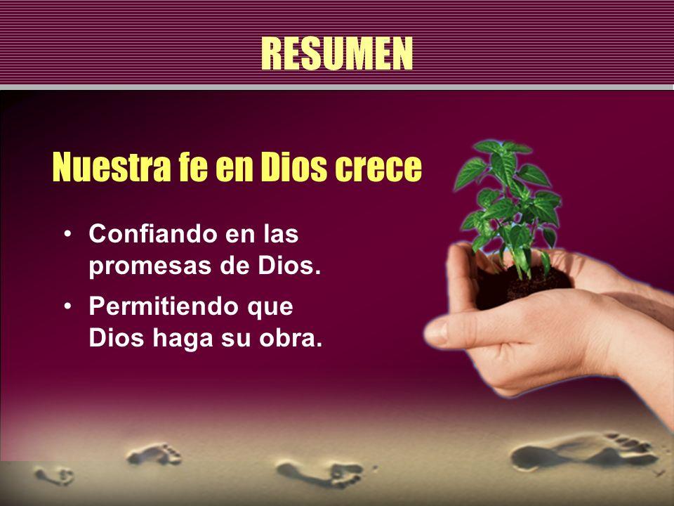 RESUMEN Nuestra fe en Dios crece Confiando en las promesas de Dios.