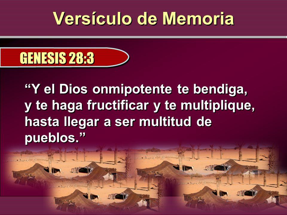 Versículo de Memoria GENESIS 28:3