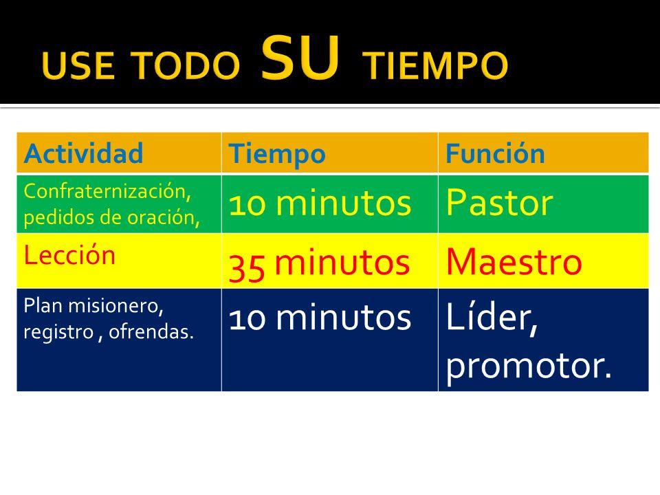 USE TODO SU TIEMPO 10 minutos Pastor 35 minutos Maestro